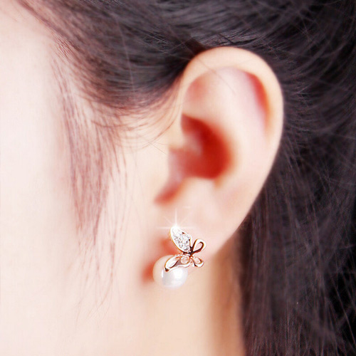 BUTTERFLY PIERCED RHINESTONE EARRINGS