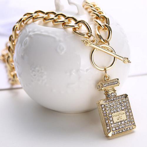 CHANEL PERFUME BOTTLE PENDANT NECKLACE