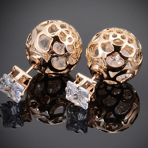 GOLD PLATE HOLLOW BALL CRYSTAL EARRINGS