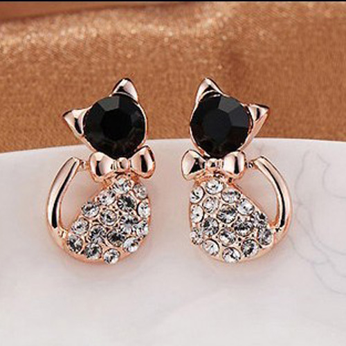 GOLD PLATED RHINESTONE BLACK CAT CUTE STUD EARRINGS
