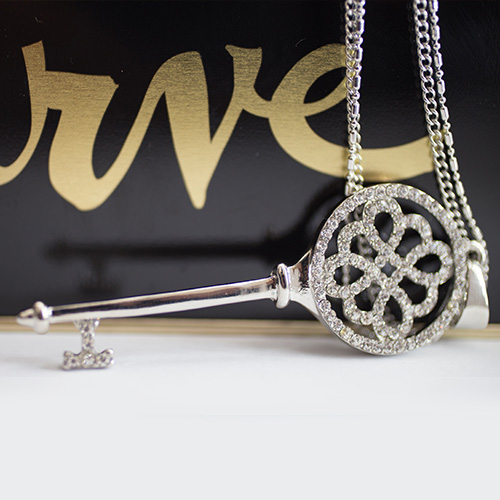 LONG KEY SILVER PATED CRYSTAL NECKLACE