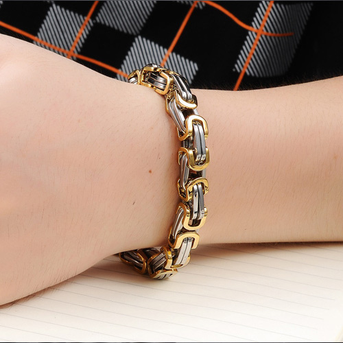 STAINLESS STEEL GOLD PLATED MENS BRACELET