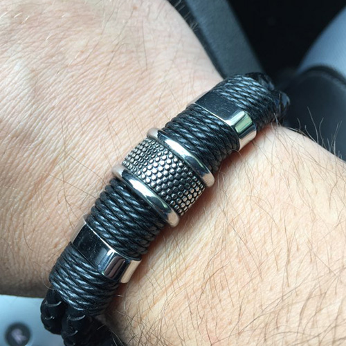STAINLESS STEEL MEN'S BRAIDED BLACK LEATHER BRACELET