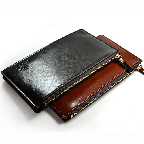 LEATHER MEN'S WALLET WITH ZIPPER