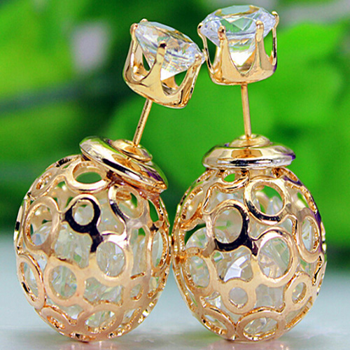 RUNWAY DOUBLE PEARL BEADS EARRINGS