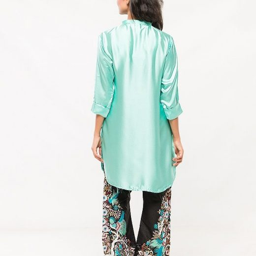 Aqua blue Silk Stylish Shirt For Women front