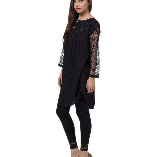 Black Cotton & Net Shirt For Women front