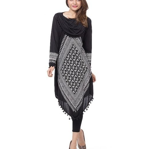 Black and white Printed Polki Top for women front