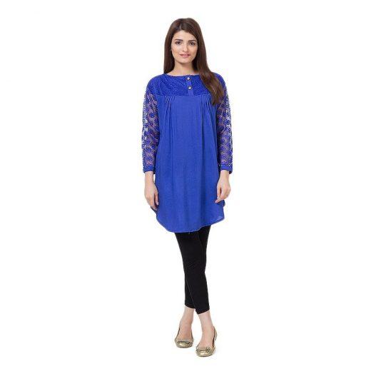 Blue Cotton & Net Shirt for Women front