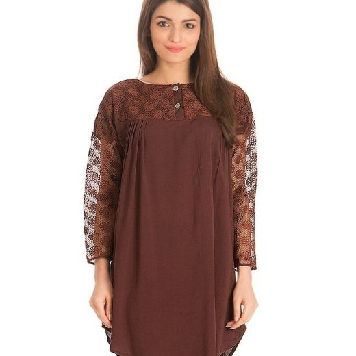 Brown Cotton & Net Shirt for Women front