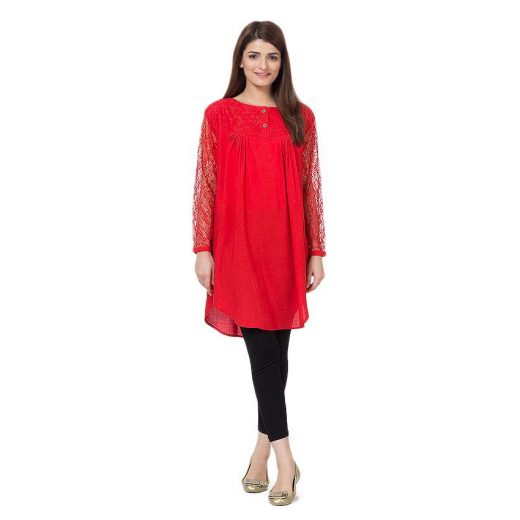 Buysense Red Cotton & Net Shirt for Women front