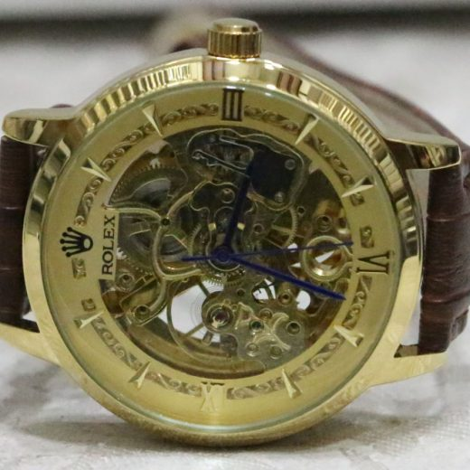 Rolex Skeliton Lather Stip Watch for Men first view