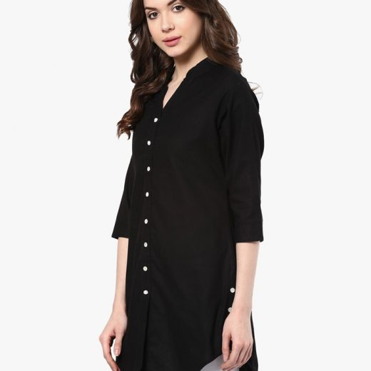 Jet Black Shirt Styles Tunic for Women front