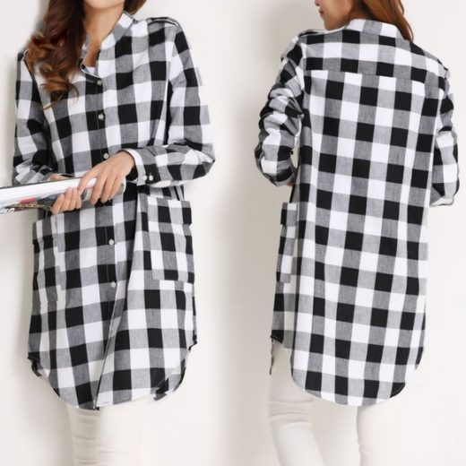 NEW BLACK & WHITE CHECKERED LONG SHIRTS FOR WOMEN front