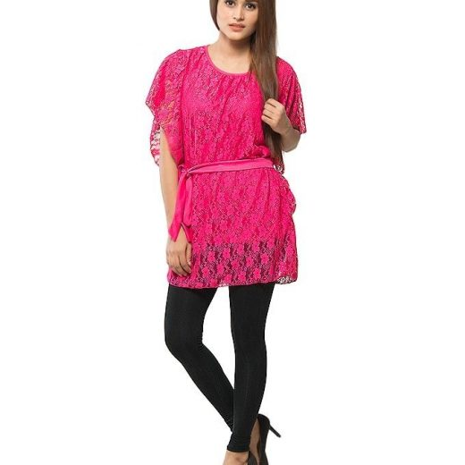 Pink Stylish and Trendy Pocho For Women front