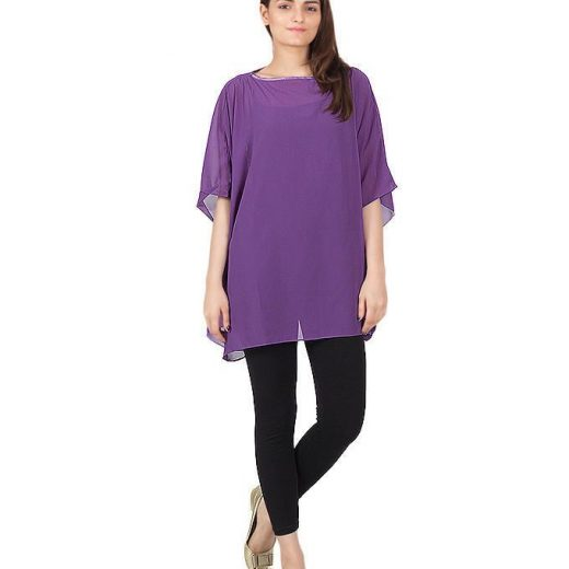 Purple Chiffon Wieght less Poncho For Women front