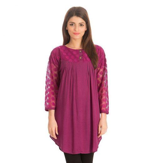 Purple Cotton & Net Shirt for Women front
