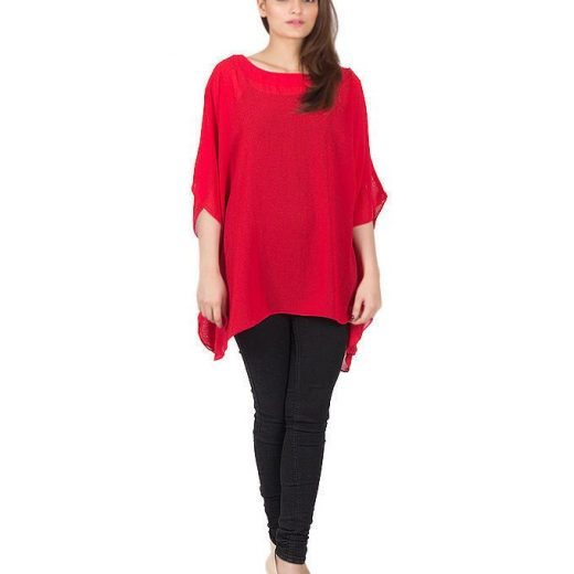 Red Chiffon Wieght less Poncho For Women front