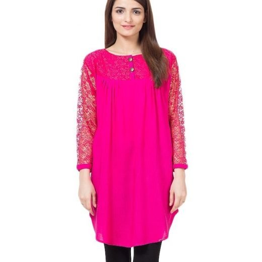 Shocking Pink Cotton & Net Shirt for Women front