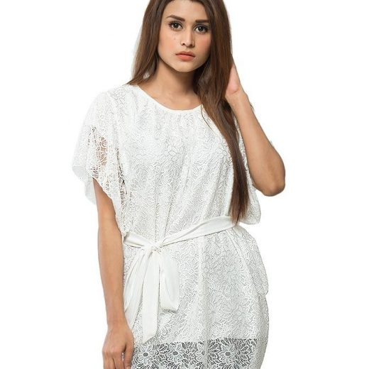 White Stylish and Trendy Pocho For Women front