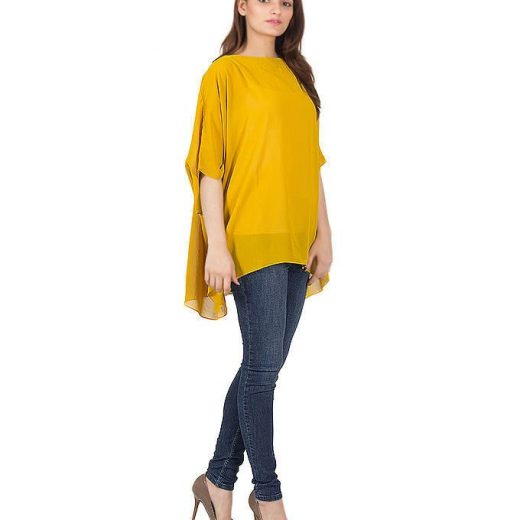Yellow Chiffon Wieght less Poncho For Women front