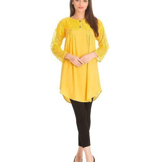 Yellow Cotton & Net Shirt for Women front