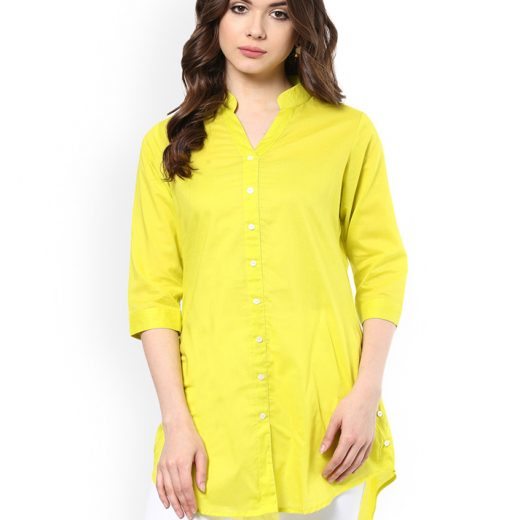Yellow Shirt Styles Tunic for Women front