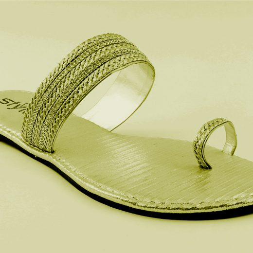 Ladies Casual Chappal FAWN and SILVER