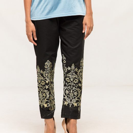 Black Tilla work Embroidered Trouser For women front