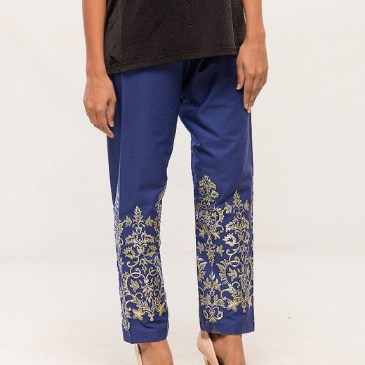 Blue Tilla work Embroidered Trouser For women front
