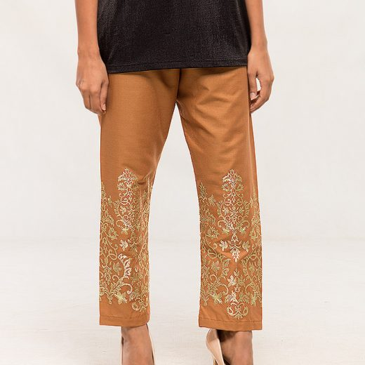 Brown Tilla work Embroidered Trouser For women front