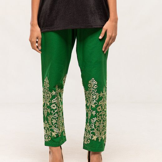 Green Tilla work Embroidered Trouser For women front