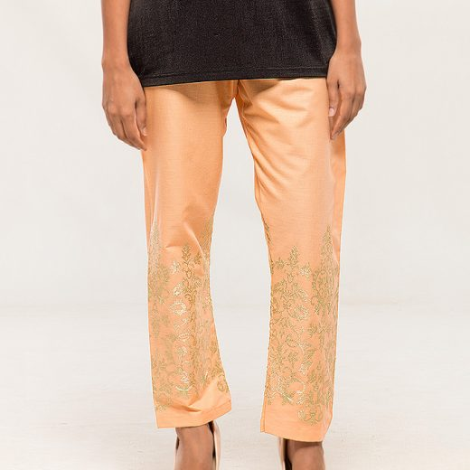 Peach Tilla work Embroidered Trouser For women front