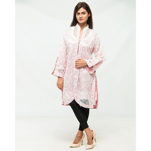 Pink and White Full net embroidered Coat with Silk Inner front