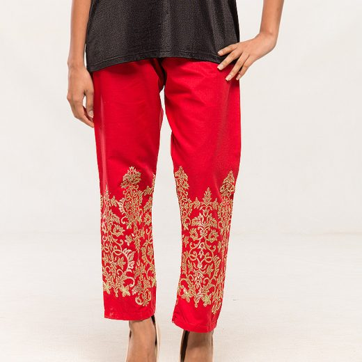 Red Tilla work Embroidered Trouser For women front
