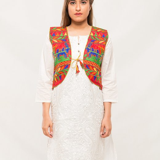 Red Traditional Stlye Coati For Women front