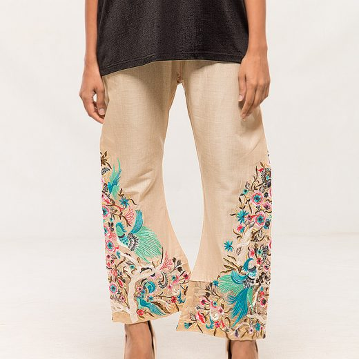 Skin color Cotton Party Wear Embroidered Trouser For Women front