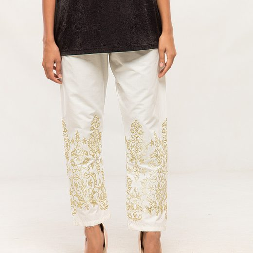 White Tilla work Embroidered Trouser For women front