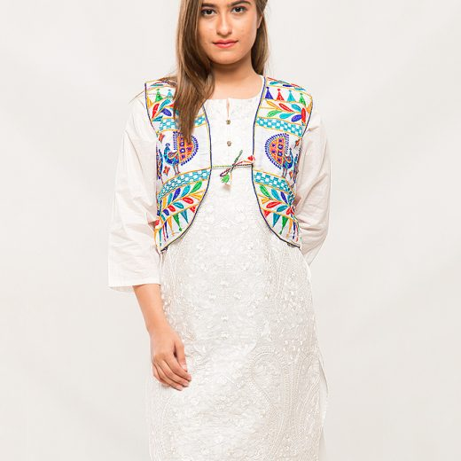 White Traditional Stlye Coati For Women front