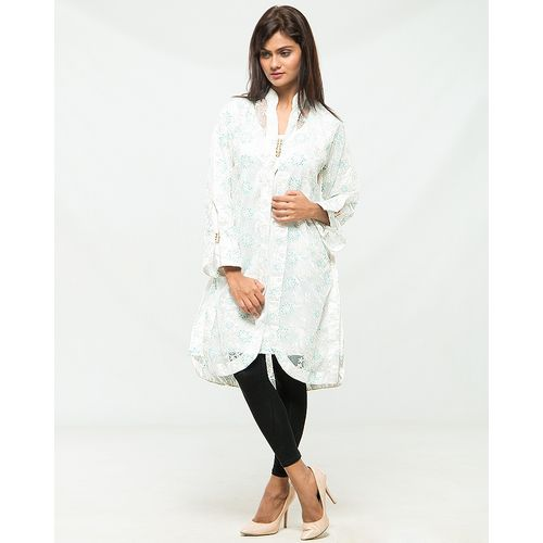 White and Aqua Blue Full net embroidered Coat with Silk Inner front